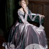 "Custom Size Renaissance Dress ""Lady Rowena"" exclusive velvet embroidered medieval gown"