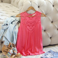 Lace Gypsy Top in Coral