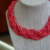 Braided Statement Necklace, Coral Woven Statement Necklace, Coral Collar Necklace, Beaded Statement Necklace, Coral Summer Necklace