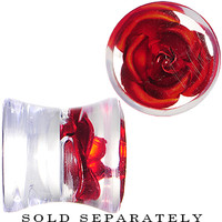 0 Gauge Clear Acrylic Floating Red Metallic Rose Plug | Body Candy Body Jewelry
