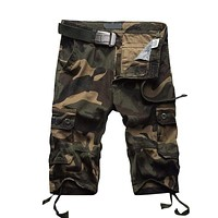 Solid Color Men's Casual Tooling Shorts Without Belts
