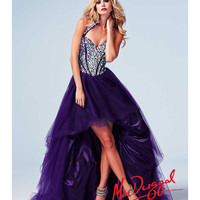 (PRE-ORDER) Mac Duggal 2014 Prom Dresses - Purple Stone Corset Halter Bodice High-Low Tulle Gown