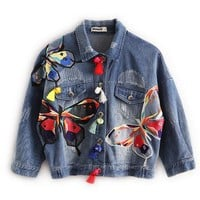 Autumn And Winter Women Basic Coats Embroidered Patch Tassel Female Jacket Fashion Jean Jacket
