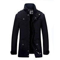 Men Thick Stand Collar Lining  Army Long Trench Coat Men
