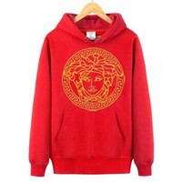 Versace Women Men Popular Leisure Long Sleeve Print Hoodie Red Sweater Top
