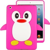 HHI Silicone Skin Case for iPad Mini - Hot Pink Penguin (Package include a HandHelditems Sketch Stylus Pen)
