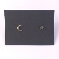 Tiny Crescent Moon and Star Stud Earrings in Gold with Sterling Silver Posts / Mix Matched Earring Set