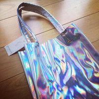 Holographic Metallic Silver Tote Bag by Little By Little