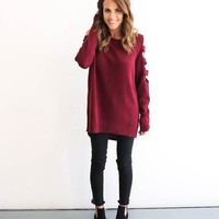 Moonshine Cold Shoulder Sweater - Wine