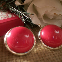 Vintage Jewelry Red Dot Earrings Button Round Domed Plastic Gold Border Cushioned Back Lightweight Clip On 1980's Fashion Accessory