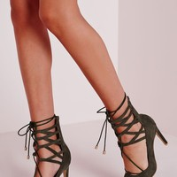 Missguided - Lace Up Stiletto Heeled Shoes Khaki