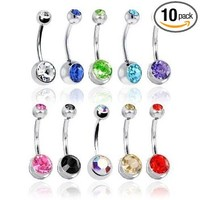 BodyJ4You® Lot of 10pc 14G Double Gem Belly Button Ring Body Jewelry Piercing Ring 10 Pack