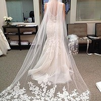 New Elegant 1T White Ivory Lace Edge Cathedral Length Wedding Bridal Veil+Comb