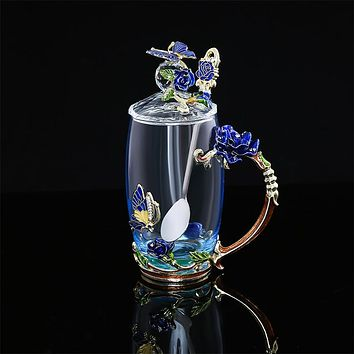 The New Blue Rose Colored Enamel Creative Cup Coffee Glass Handicraft Box Set Flower Tea Cups