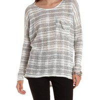 Gray Combo Striped Slouchy Long Sleeve Top by Charlotte Russe