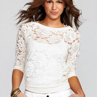Floral Lace Pullover Long-Sleeve