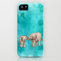 Baby Elephant Love - sepia on watercolor teal iPhone & iPod Case by Perrin Le Feuvre