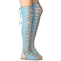 Cape Light Denim Open Lace Up Front Thigh High Gladiator Sandals