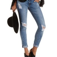 "Med Wash Denim Refuge ""Skinny Boyfriend"" Cropped Jeans"
