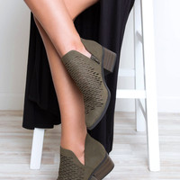 Griffin Cut Out Booties - Olive