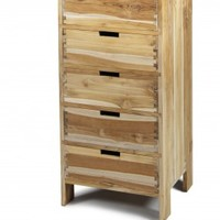 Stitch 5 Drawer Narrow Unfinished Teak « from the source