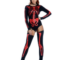 Long Sleeve Red Skeleton Bodysuit & Thigh Highs Costume