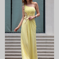 WowDresses — Enchanting A-line One-shoulder Daffodil Chiffon Homecoming Dress