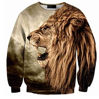Roaring Lion All Over Print Brown Crew Neck Sweatshirt