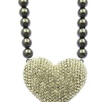 NECKLACE / PAVE CRYSTAL STONE / HEART / CHUNKY PEARL / 16 INCH LONG / 3 1/ 4 INCH DROP / NICKEL AND LEAD COMPLIANT