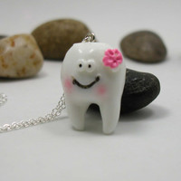 Tooth Necklace - Charm Necklace - Teeth Necklace - Dental Necklace - Dentist Gift - Tooth Charm - Baby Teeth Necklace - Dental Hygienist