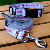 ONLY ONE! Pink browning on gray webbing - adjustable dog collar & leash. Choose Your size.