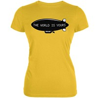 The World Is Yours Blimp Bright Yellow Juniors Soft T-Shirt