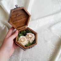 Wedding rings box, pillow rustic woodland natural moss cotton lace shabby chic brown cream sola flower big rings box customised
