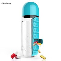 ISHOWTIENDA New Hot 600ml 7.5 x 7.5 x 24 cm  Outdoor Sport Water Bottle With Built-in Daily 7 Daily Pill Box Vitamin Organizer