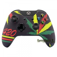 New Custom Green Weed Top Shell Repair Mod Kit for Xbox One Controller