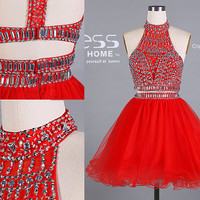 2015 New Design Red Beading Rhinestone 2 Piece Party Dress/Short Organza Homecoming Dress/Sparkly 2 Piece Prom Dress/Short Dress DH435