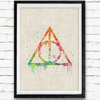 Harry Potter Poster, The Deathly Hallows Watercolor Art Print, Kids Decor, Wall Art, Home Decor, Not Framed, Buy 2 Get 1 Free!