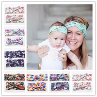 New Mommy and Me Matching Turban Headband Set Fashion Boho Floral Topknot Head Wrap for Mom and daughter Gifts 2pcs set HB010