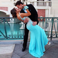 Long Elegant Fishtail Prom Dresses Mermaid Fast Shipping For Graduation Shiny Crystal Beaded Sequin Evening Dresses Gowns