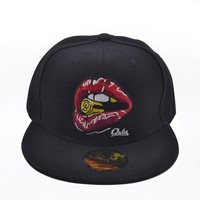 Sports Hat Cap trendy  Europe and America new men and women lips graffiti baseball cap cartoon pattern hip hop hat Young outdoor sports cap couple hat KO_16_1
