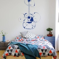 ik793 Wall Decal Sticker guitar song chords floral ornament music bedroom teens