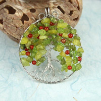 Peridot, olive jade serpentine and red agate silver-plated wire Tree of Life pendant, apple tree pendant