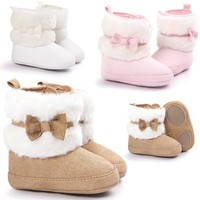 Fashion Online Fashion Design Baby Girl Winner Shoes Newborn Bowknot Keep Warm Soft Sole Snow Boots Soft Crib Shoes Toddler Boots
