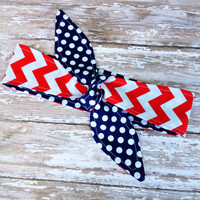 Adult - 4th of July - Red White Blue - Dolly Bow REVERSIBLE Tie Up Headscarf Headband Bandana Hair Accessory Boho Rockabilly - American Flag