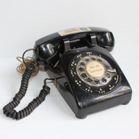 BLACK ROTARY TELEPHONE, Vintage rotary phone, South Central Bell phone, Western Electric phone, vintage black phone, vintage movie prop