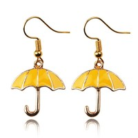 HIMYM How I Met Your Mother Yellow Umbrella mother Blue French Horn Earrings