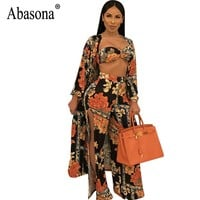 Abasona Sexy Jumpsuit Women Overalls Autumn New Long Sleeve Printed Jumpsuits Rompers Party Split Wide Leg Pant Three Piece Set
