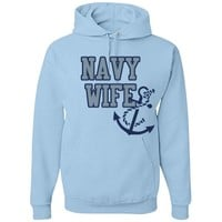 Navy Wife Anchor: Custom Unisex Basic JERZEES NuBlend Heavyweight Hoodie - Customized Girl