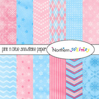 Pink and Blue Winter Digital Paper Pack – Distressed Christmas Scrapbook Paper with snowflakes, damask & chevron – instant download – CU OK