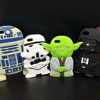New arrival fashion star wars design 3d cute cartoon soft silicone mobile phone case cover for iPhone 5 5s 6 4.7 5.5 inch plus